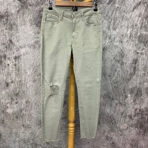 Just Black Skinny Distressed Jeans Sz28 Sage Green